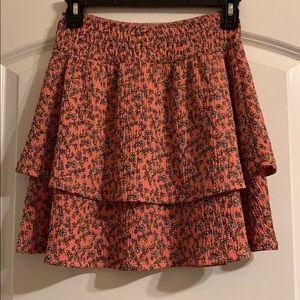 pink floral mini skirt